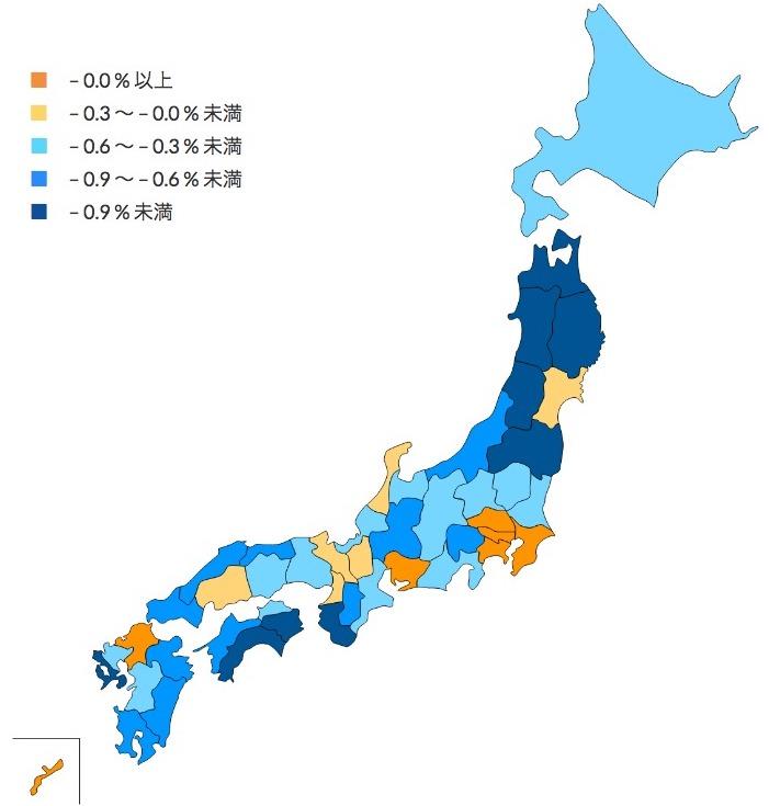 人口増減率(都道府県) |